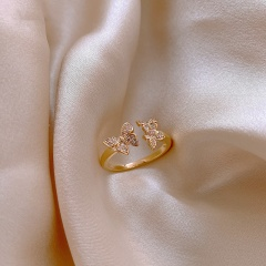 3 Butterflies Cubic Zirconia Copper Open Ring gold