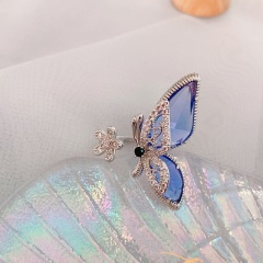 Big Butterfly Flower Cubic Zirconia Glass Open Copper Ring blue