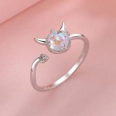 Devil's Tail Moonstone Open Copper Ring silver