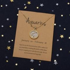 Golden Daytime Twelve Constellation Paper Card Necklace (Pendant size: 1.7*2cm, chain length: 45+5cm, paper jam: 9.5*7cm) Aquarius