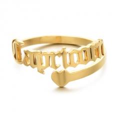 Golden Twelve Constellation Letters Love Heart Stainless Steel Ring Capricorn
