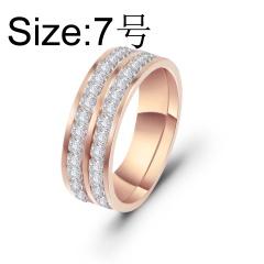 Double row square inlaid cubic zirconia titanium steel ring #7 rose gold