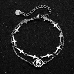 Double-layer geometric cross chain titanium steel bracelet (chain length 16.5+5cm) owl A