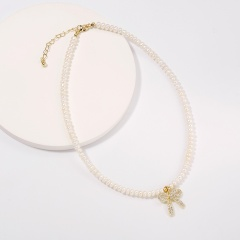 Simple geometric freshwater pearl copper necklace (chain length 40+5cm) A