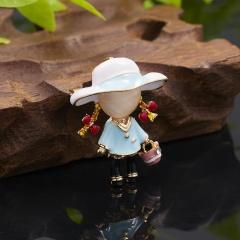 Character little girl opal enamel rhinestone brooch (size 3*4cm) blue