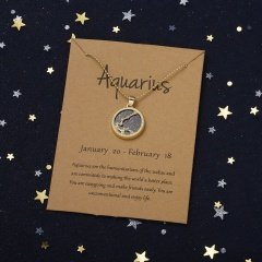 Golden night twelve constellations paper card necklace (Pendant size: 1.7*2cm, chain length: 45+5cm, paper jam: 9.5*7cm) Aquarius