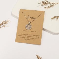 18KGP Daytime Twelve Constellation Paper Card Necklace (Pendant size: 1.7*2cm, chain length: 45+5cm, paper jam: 9.5*7cm) Aries