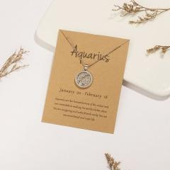 18KGP Daytime Twelve Constellation Paper Card Necklace (Pendant size: 1.7*2cm, chain length: 45+5cm, paper jam: 9.5*7cm) Aquarius