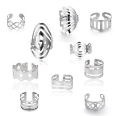 5pcs/set Geometric hollow open ring set (random style) 18KGP