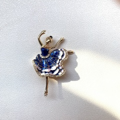 Wholesale dancing girl rhinestone enamel character brooch (Paper jam+opp) 1