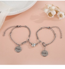 Stainless Steel Love Magnet Love Couple Bracelet (chain about 17+5cm) A