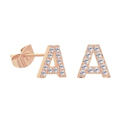 Inlaid with cubic zirconia 26 letter copper earrings (size 1*1cm) A