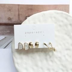 3 pairs of enamel C-shaped geometric combination earrings set (Earring size: 1.5/1.7/2.7cm) white
