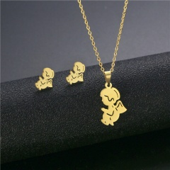 2pcs/set Gold Stainless Steel Geometric Clavicle Necklace and Earring Set (chian length 45cm) D