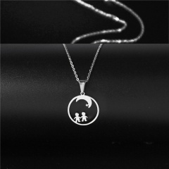 Stainless steel love couple clavicle necklace (chain length 45+5cm) A