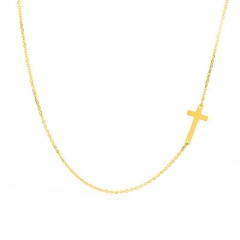Cross Stainless Steel Clavicle Necklace (chain length 40+5cm) gold