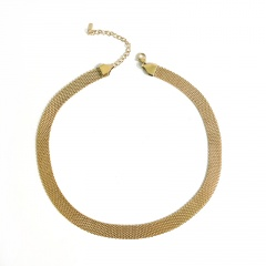 14K Gold Plated Broadband Titanium Steel Clavicle Necklace gold