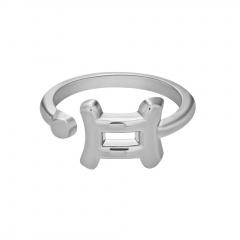 Symbol Edition Twelve Constellation Letter Silver Open Ring Gemini