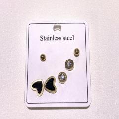 3pairs/set Geometric cutouts enamel inlay rhinestone stud earrings set A