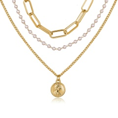Imitation pearl head coin embossed chain multi-layer necklace (Size: 36~52+5cm) Imitation pearl