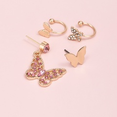 4pcs/set Hollow butterfly inlaid rhinestone earrings set (Size: big butterfly 3cm, small butterfly 1cm) gold