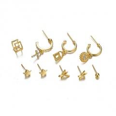 9pcs/set Dragonfly star cross sun lock earring set (Size: star 0.7cm, dragonfly 1cm, ear ring 2.6cm, ear clip 1cm) gold