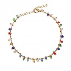 Colorful bead pendant chain beach anklet (Circumference: 21+5cm) gold