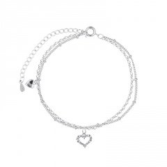 Double layer love cube zirconia hollow chain beach copper anklet (Circumference: 19+5cm) platinum