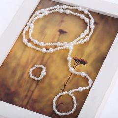 2pcs/set Imitation pearl chain foot ring set anklet (Length: 36.5cm) gold