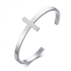 Men's Stainless Steel Cross Bangles (Diameter: 61mm opening adjustable) steel color
