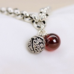 Red Agate Bell Lady Chain Copper Bracelet (Circumference: 19cm) silver