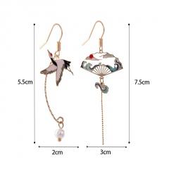 Ancient fan asymmetrical long tassel imitation pearl enamel ear hook earrings crane