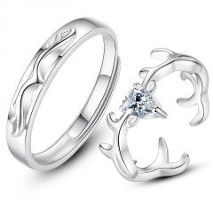 2pcs/set Cubic Zirconia Fawn Couple Open Ring Set A