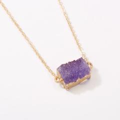 Rectangular Natural Stone Resin Pendant Paper Card Necklace (Pendant size: 1*1.5cm, chain length: 38+5cm, paper jam: 7*9cm) purple