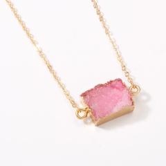 Rectangular Natural Stone Resin Pendant Paper Card Necklace (Pendant size: 1*1.5cm, chain length: 38+5cm, paper jam: 7*9cm) pink