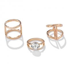 3pcs/set ins style cubic zirconia ring set (size 2cm) gold