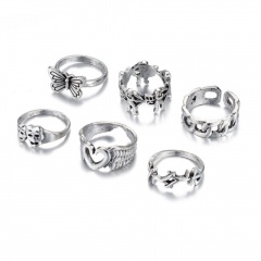 6pcs/set Cupid Arrow Love Butterfly Joint Ring Set (size 2cm) Ancient silver