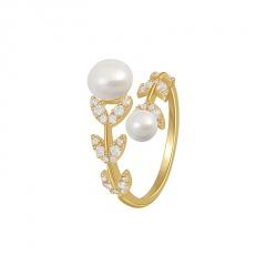 Imitation pearl leaf inlaid rhinestone open ring gold