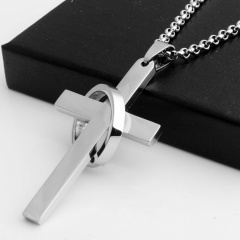 Ring Cross Scripture Stainless Steel Pendant Necklace (size 60cm) opp Steel color B