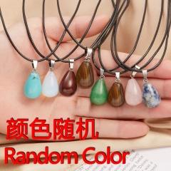 Geometric drop shape natural stone pendant necklace(pendant size 3*1.5cm) Random