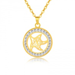 Stainless steel necklace with rhinestone starfish and six-pointed star pendant (Pendant size: 2*2.3cm, chain circumference: 50cm) starfish