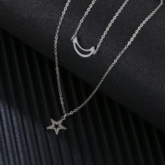 Moon Star Pendant Double Stainless Steel Necklace (chain length 38/45cm) steel color