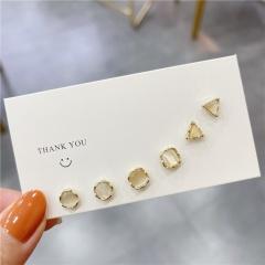 Geometric Love Triangle Square Cat's Eye Stone Stud Earring Set Fashion Jewelry For Girl A