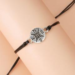 You Are My Compass Alloy Bracelet Set (Adjustable Long: 16-28 cm. 1 set of 2 pcs) Compass A(2 Pcs/set)