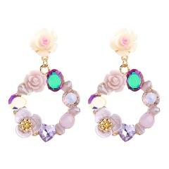 Acrylic Rhinestone Resin Wreath Romantic Flower Stud Earrings Purple