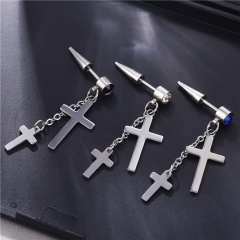 Stainless Steel Cross Tassel Hip Hop Punk Stud Earrings White