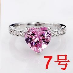 1pcs Pink Big Zircon Love Heart Ring 7