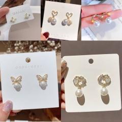 S925 Silver Needle Fashion Diamond Pearl Butterfly Stud Earrings Mini Women's Jewelry A