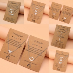 Mother And Daughter Stainless Steel Hollow Love Butterfly Necklace Set A(2pcs/set)