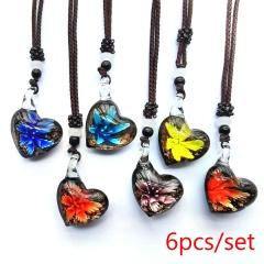 Wholesale Lot Murano Glass Necklace Snake Fan Creative Pendant Necklace Lot (Black Rope Length: 60cm) Love (6pcs/Lot)